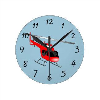 Helicóptero animado reloj redondo mediano