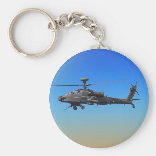Helicóptero de AH-64 Apache Llavero Redondo Tipo Pin