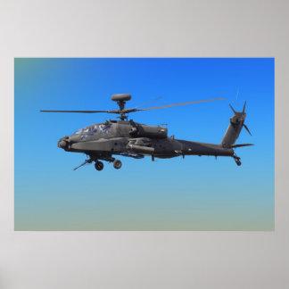 Helicóptero de AH-64 Apache Póster