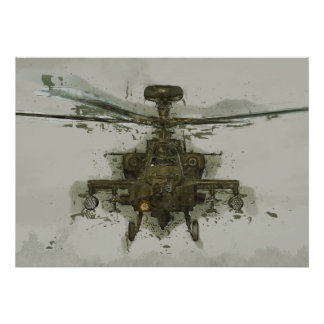 Helicóptero de ataque de Apache Póster