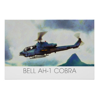 Helicóptero de ataque de la cobra de Bell AH-1 - p Póster