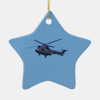 Helicóptero de los militares del puma de Westland Adorno Navideño De Cerámica En Forma De Estrella