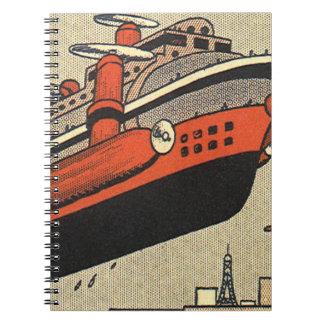 Helicóptero del barco de cruceros de la ciencia note book