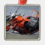 Helicóptero del delfín MH-65 estrellado en Arcata Adorno Navideño Cuadrado De Metal