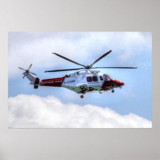 Helicóptero del guardacostas póster