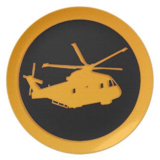 Helicóptero del oro platos