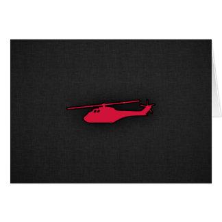 Helicóptero del rojo carmesí felicitaciones
