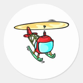 Helicóptero lindo pegatina redonda