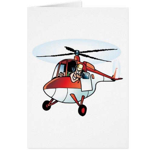 Helicóptero lindo tarjeta de felicitación