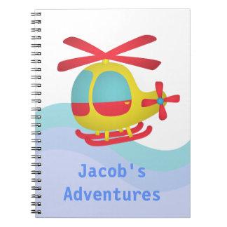 Helicóptero lindo y colorido para los niños libreta espiral