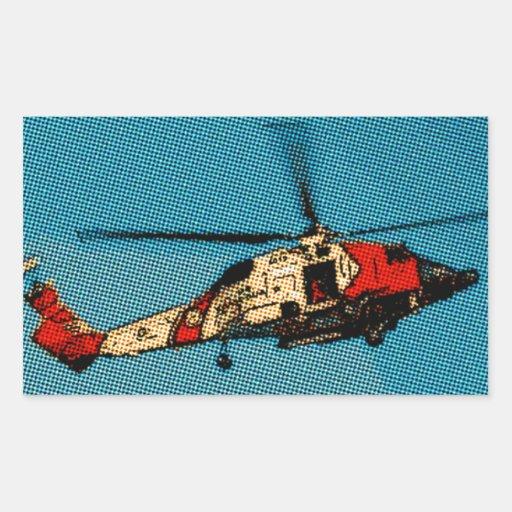 Helicóptero Pegatina Rectangular