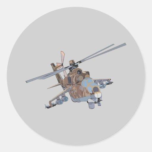 Helicóptero Pegatina Redonda