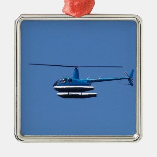 Helicóptero R44 con los flotadores Ornamento De Navidad
