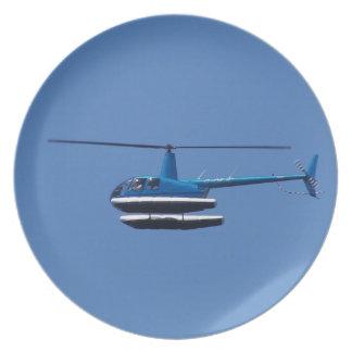 Helicóptero R44 con los flotadores Plato Para Fiesta