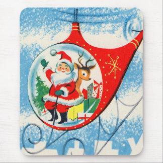 Helicóptero retro Santa del anuncio del vintage Mouse Pads