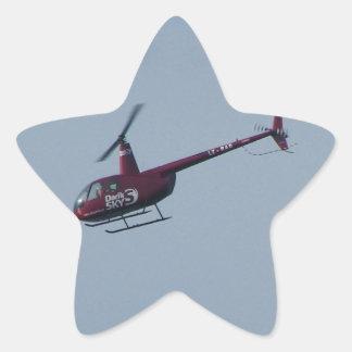 Helicóptero turístico rojo pegatina en forma de estrella