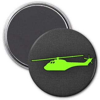 Helicóptero verde chartreuse, de neón imán redondo 7 cm
