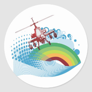 helicoptor ride vector design classic round sticker