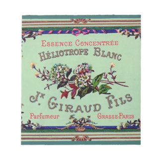 Heliotrope Blanc Perfume Label Memo Notepad