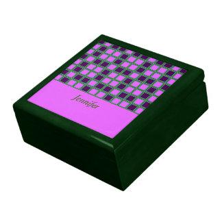 Heliotrope squares mosaic pattern, add text jewelry box