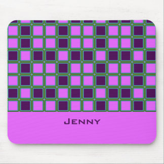 Heliotrope squares mosaic pattern, add text mouse pad