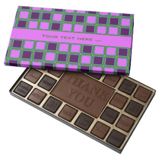 Heliotrope squares mosaic pattern, customizable assorted chocolates