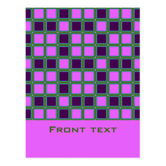 Heliotrope squares mosaic pattern, text template postcard