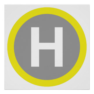 Helipad Sign Poster
