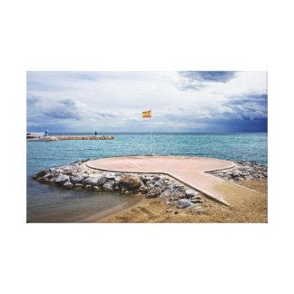 Helipuerto en el mar Mediterráneo Impresión En Lona Estirada