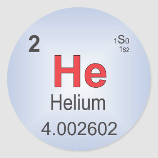 Helium Individual Element of the Periodic Table Classic Round Sticker