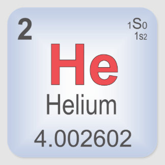 Helium Individual Element of the Periodic Table Square Sticker