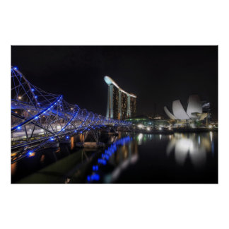 Helix Bridge Singapore River at Night Poster