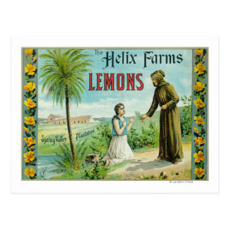 Helix Farms Lemon LabelSan Diego, CA Postcard