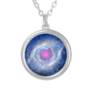 Helix Nebula Ultraviolet Eye of God Space Photo Silver Plated Necklace