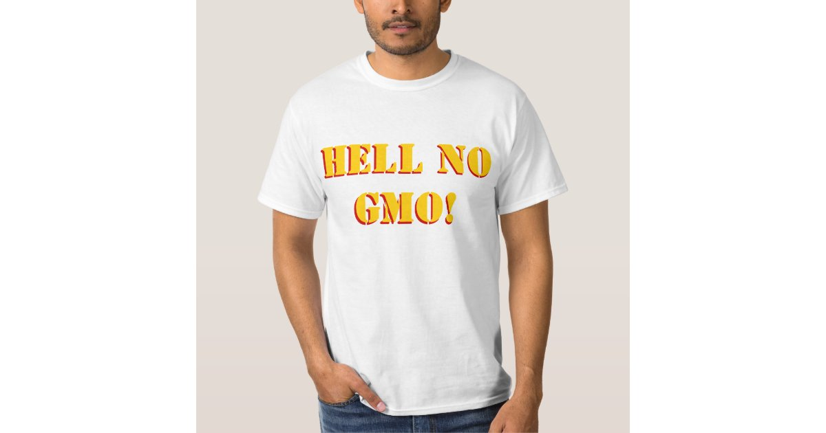 Hell no gmo stencil font front and back custom t shirt for Custom photo t shirts front and back