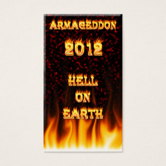 Hell on earth fire and flames. business card