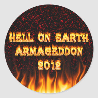 Hell on earth fire and flames. classic round sticker