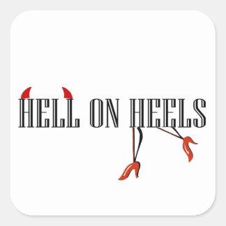 Hell On Heels (Legs/Horns) Square Sticker