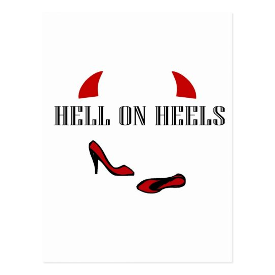 Hell On Heels with little horns Postcard