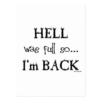 Hell was full postcard