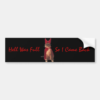 Hell Was Full, So I Came Back Bumper Sticker