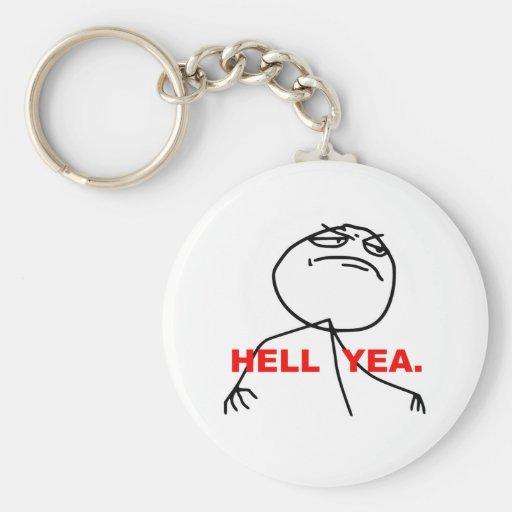 Hell Yea Rage Face Meme Key Chain