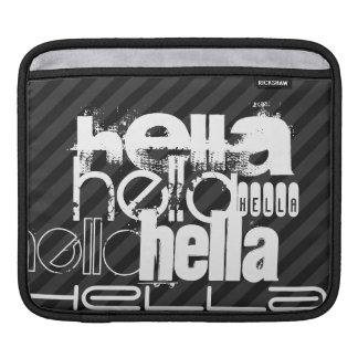 Hella; Rayas negras y gris oscuro Funda Para iPads