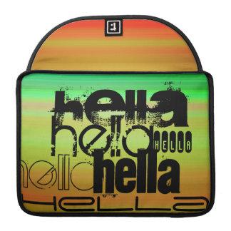 Hella; Verde vibrante, naranja, y amarillo Fundas Para Macbook Pro