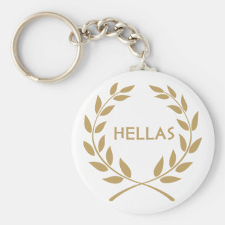 Hellas with Gold olive Wreath Basic Round Button Keychain