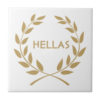 Hellas with Gold olive Wreath Ceramic Tile