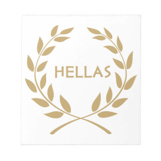 Hellas with Gold olive Wreath Notepad