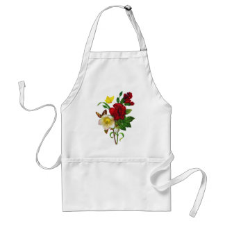 Hellebore, Roses and Butterflies by Redoute Adult Apron