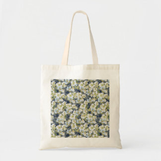 Hellebores dark blue shaded pattern budget tote bag