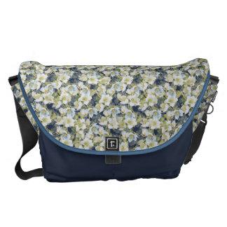 Hellebores dark blue shaded pattern messenger bags